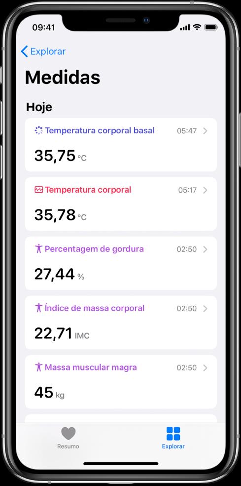 Um ecrã de detalhes da categoria Medidas.