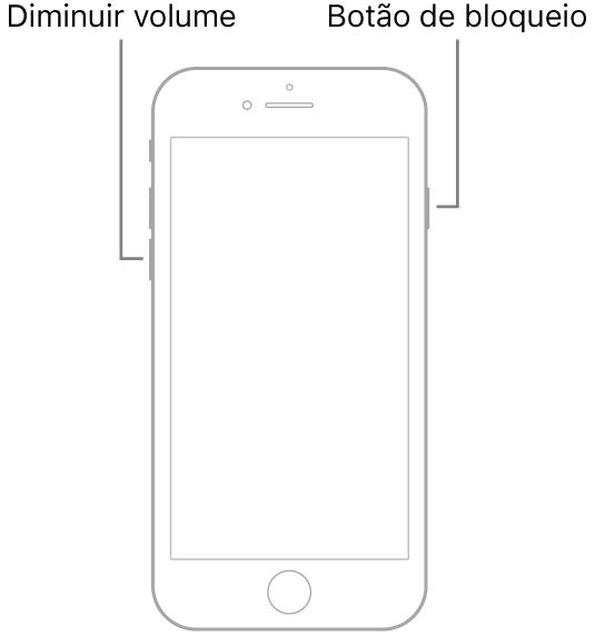 Ilustração do iPhone 7 com o ecrã virado para cima. O botão de reduzir o volume está no lado esquerdo do dispositivo, havendo um botão de suspender/reativar no lado direito.