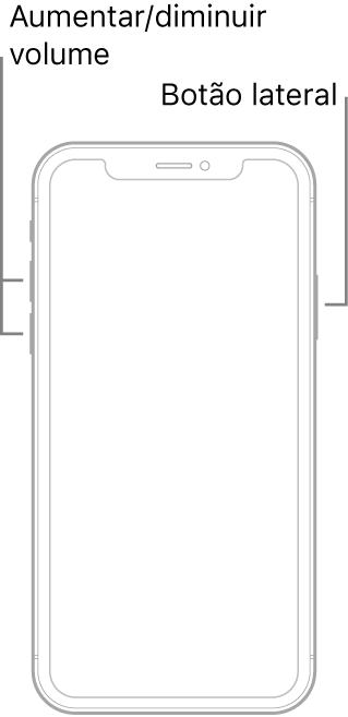 Uma ilustração de iPhone sem botão principal, virado para cima. Os botões de aumentar e reduzir o volume estão no lado esquerdo do dispositivo, e o botão lateral, no lado direito.