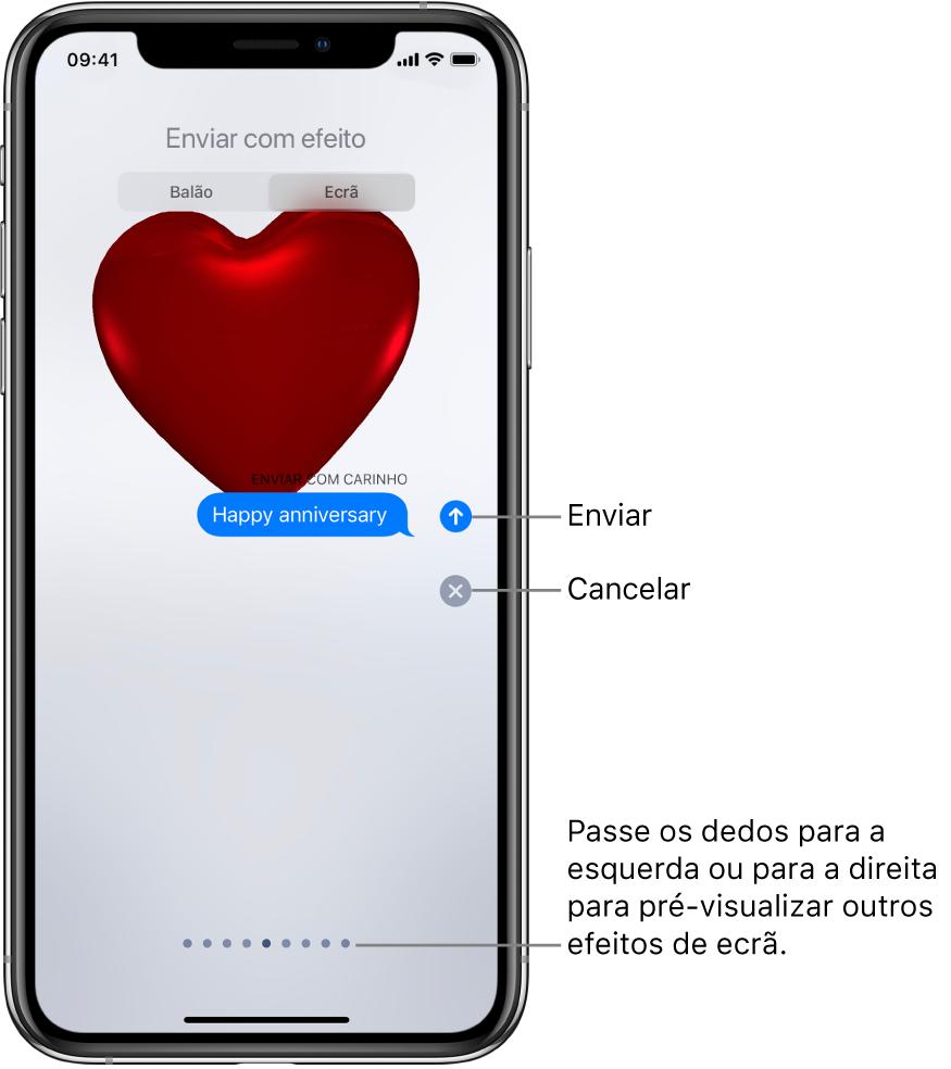 Pré‑visualização de um efeito de ecrã completo com um coração vermelho.