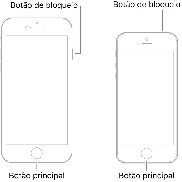 Ilustrações de dois modelos do iPhone com os ecrãs virados para cima. Ambos têm um botão principal na parte inferior do dispositivo. O modelo mais à esquerda tem um botão de suspender/reativar na extremidade direita do dispositivo, junto à parte superior, ao passo que o modelo mais à direita tem um botão de suspender/reativar na parte superior do dispositivo, perto da extremidade direita.