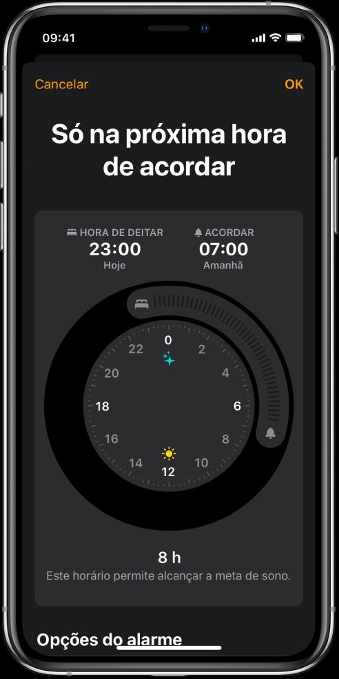 """O ecrã """"Só na próxima hora de acordar"""" a mostrar a hora de sono a começar às 23:00 e uma hora de acordar às 7:00."""