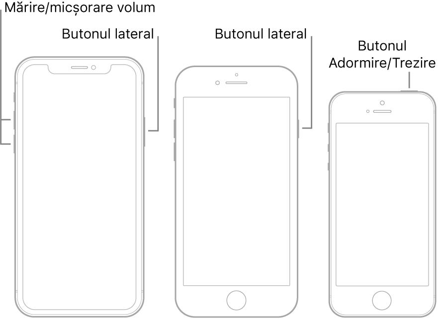 Ilustrații cu trei modele diferite de iPhone, toate cu ecranele îndreptate în sus. Ilustrația din stânga prezintă butoanele de mărire și de micșorare a volumului de pe partea stângă a dispozitivului. Butonul lateral este afișat în partea dreaptă. Ilustrația din mijloc prezintă butonul lateral din dreapta dispozitivului. Ilustrația din dreapta prezintă butonul Adormire/Trezire din partea de sus a dispozitivului.