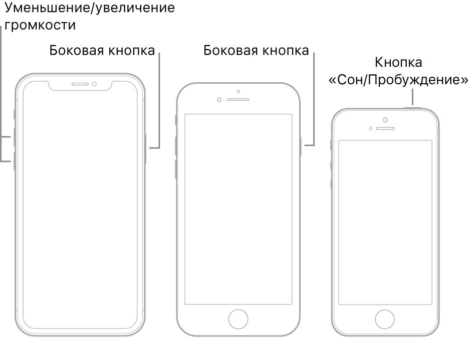 Иллюстрации трех разных моделей iPhone, расположенных экраном вперед. На иллюстрации слева показаны кнопки увеличения и уменьшения громкости на левой панели устройства. На правой панели устройства показана боковая кнопка. На иллюстрации в центре показана боковая кнопка на правой панели устройства. На иллюстрации справа показана кнопка «Сон/Пробуждение» на верхней панели устройства.