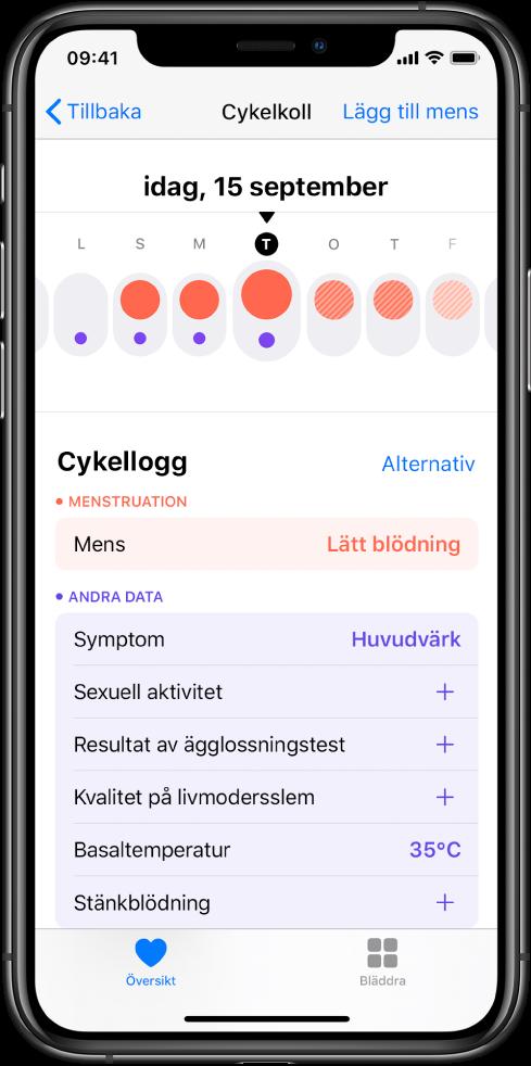 Skärmen Cykelkoll i appen Hälsa.