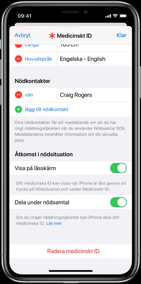 Skärmen för ett medicinskt ID. Längst ned finns alternativen för att visa informationen från ditt medicinska ID när iPhone-skärmen är låst och när du ringer ett nödsamtal.