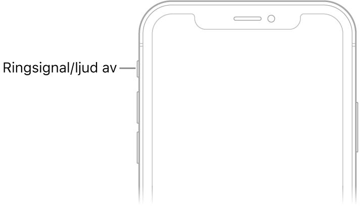 Den övre delen av framsidan på iPhone med ett streck som pekar mot reglaget för ringsignal/ljud av.
