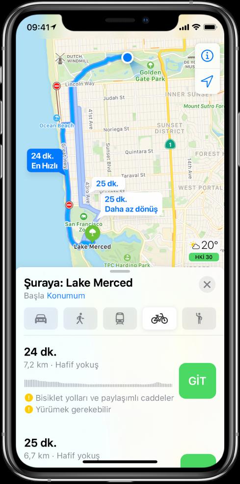 Birden fazla bisiklet güzergâhını gösteren bir harita. En alttaki güzergâh bilgileri; tahmini süreler, yükseklik değişiklikleri ve yol türleri de dahil olmak üzere güzergâh ayrıntılarını içeriyor. Güzergâh bilgilerindeki her seçeneğin yanında bir Git düğmesi görünüyor.