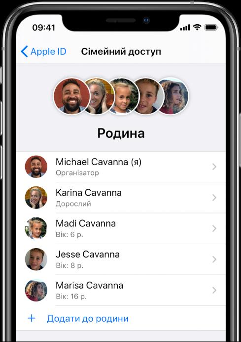 Екран «Сімейний доступ» у Параметрах. П'ять членів родини перелічено. Унизу екрана видно кнопку «Додати учасника».
