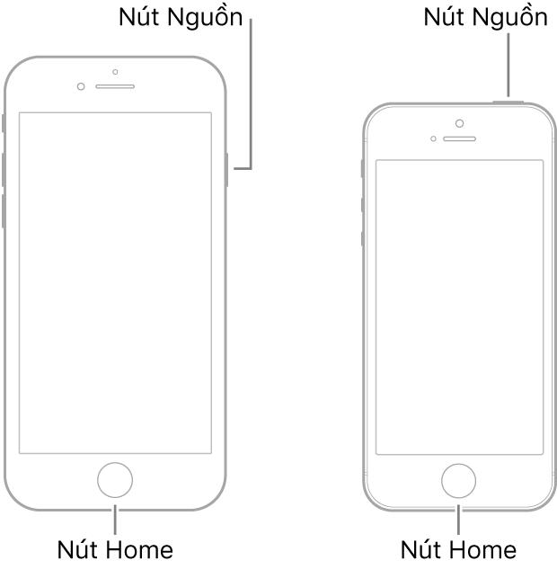 Các hình minh họa của hai kiểu máy iPhone có màn hình hướng lên trên. Cả hai kiểu máy đều có nút Home ở gần cuối thiết bị. Kiểu máy ngoài cùng bên trái có nút Nguồn ở cạnh phải của thiết bị gần trên cùng, trong khi kiểu máy ở ngoài cùng bên phải có nút Nguồn ở đầu thiết bị, gần cạnh phải.