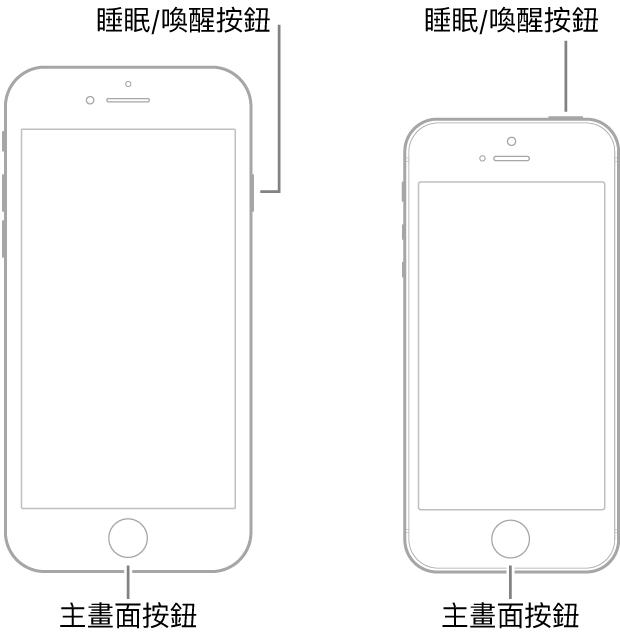 兩個不同型號且正面朝上的 iPhone 插圖。兩個裝置底部附近都有主畫面按鈕。最左邊的型號在靠近裝置上方的右側邊緣有一個「睡眠/喚醒」按鈕,而最右邊的型號在裝置上方有一個「睡眠/喚醒」按鈕,靠近右側邊緣。