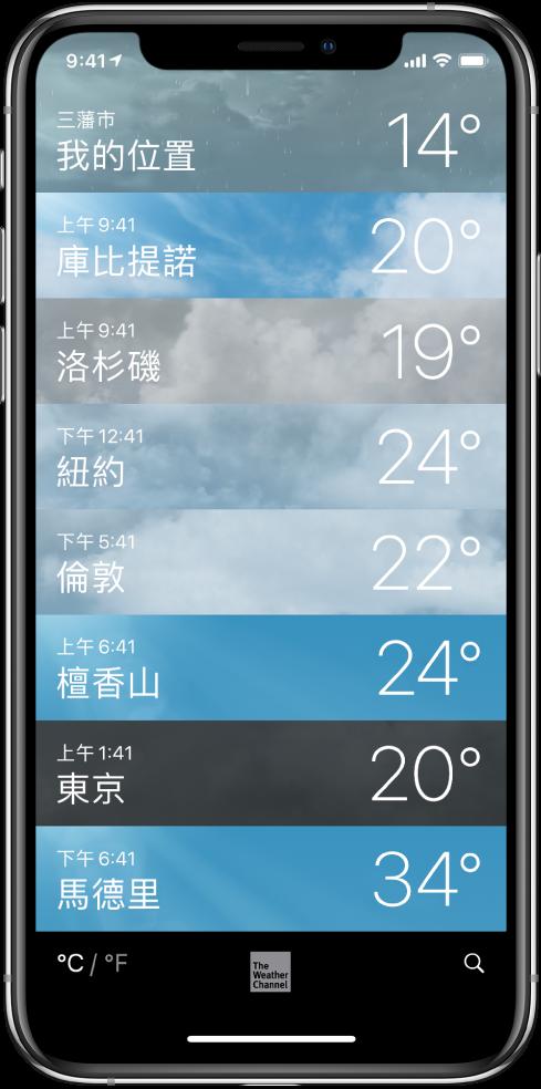 城市列表,每個都會顯示時間和現時溫度。