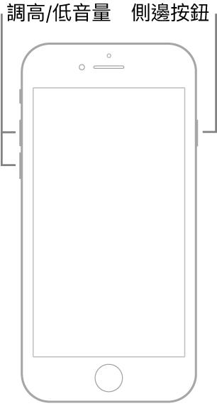 帶主畫面按鈕的 iPhone 型號之螢幕朝上插圖。調高和調低音量的按鈕顯示在裝置的左側,側邊按鈕顯示在右側。