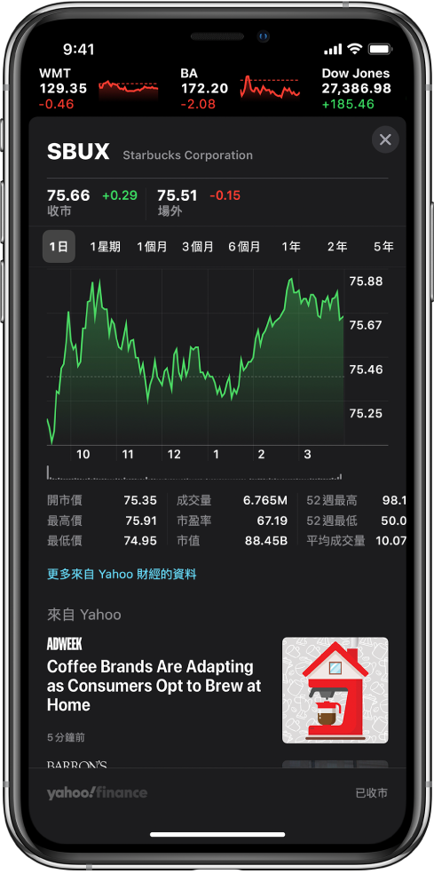 畫面中央的圖表顯示股票於過去一日的表現。圖表上方的按鈕可以顯示股示於一日、一星期、一個月、三個月、六個月、一年、兩年或五年間的表現。圖表下方是股票的詳細資料,例如開市價、最高價、最低價和市值。圖表下方是與該股票相關的 Apple News 文章。
