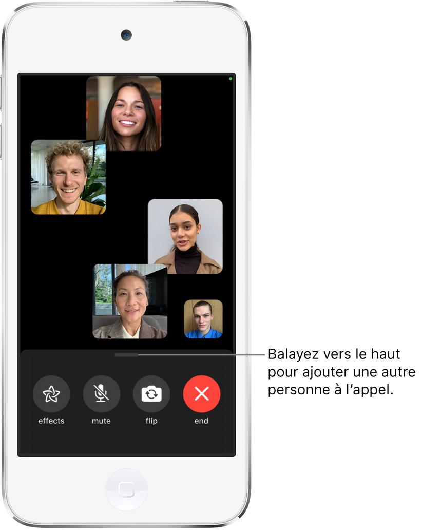 Un appel FaceTime en groupe avec cinq participants, dont le créateur. Chaque participant apparaît dans une vignette distincte. Les commandes au bas de l'écran sont: Effets, Couper le micro, Retourner et Raccrocher.