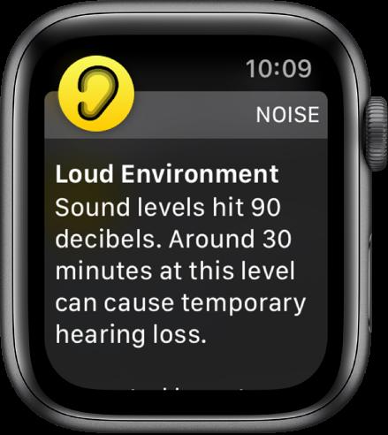 Екранът Noise (Шум), показващ сила на шума 100 dB. Отдолу се появява съобщение, предупреждаващо за продължително излагане на шум с тази сила.