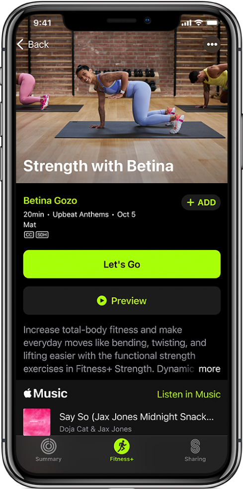Екран на силова тренировка, показващ бутона Let's Go (Зпочни), бутона Preview (Преглед), описание на тренировката и списъка с песни за тренировката.