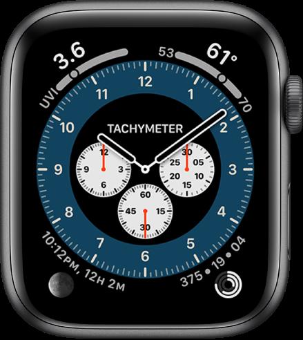 Циферблатът Chronograph Pro (Хронограф про), показващ вариацията Tachymeter (Тахиметър).