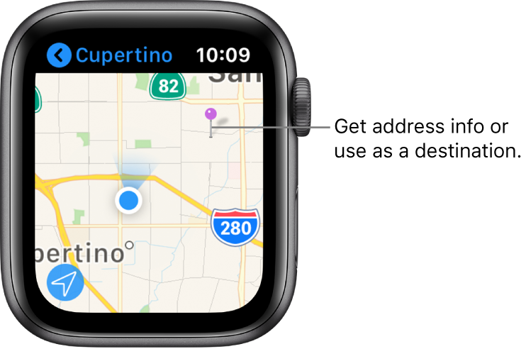 The Maps app shows a map with a purple pin placed on it, which can be used to get the approximate address of a spot on the map, or as a destination for directions.