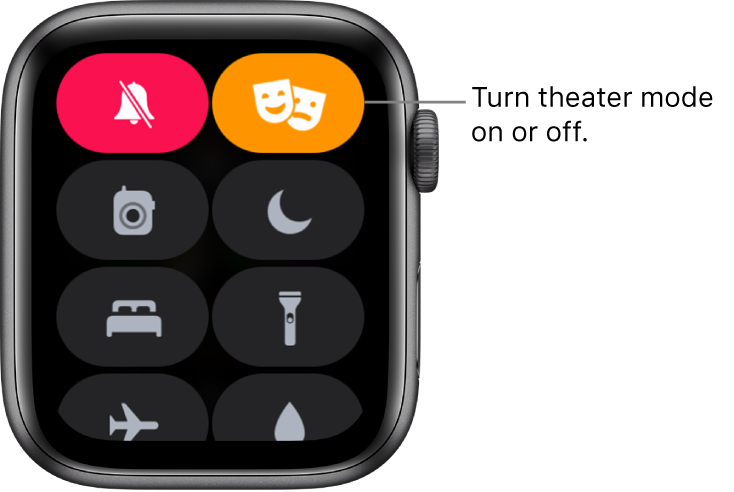 Control Center with theater mode and silent mode buttons highlighted to show theater mode is on.