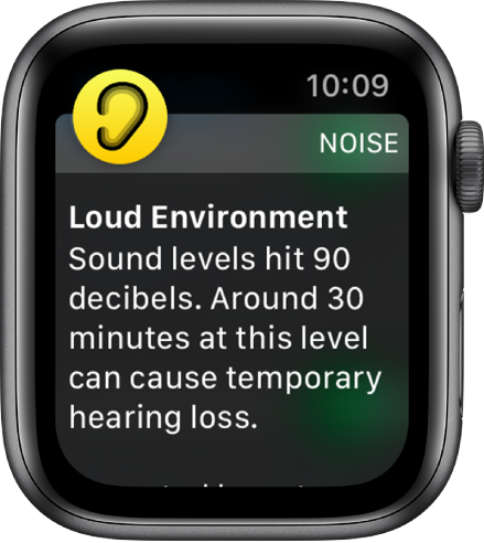 Apple Watch showing a Noise notification. The icon for the app associated with the notification appears at the top left. You can tap it to open the app.