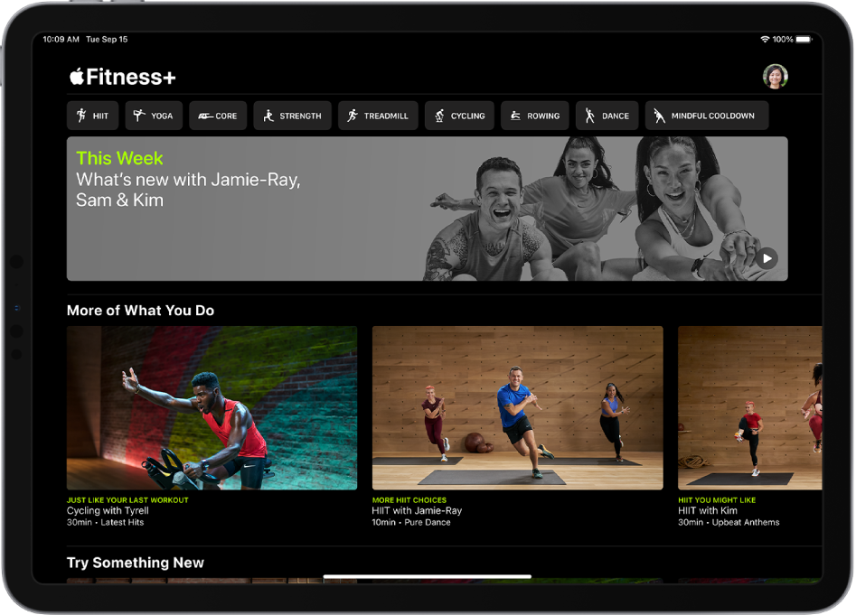 The main Fitness+ page showing workout types, a video for the new workouts this week, and recommended workouts.