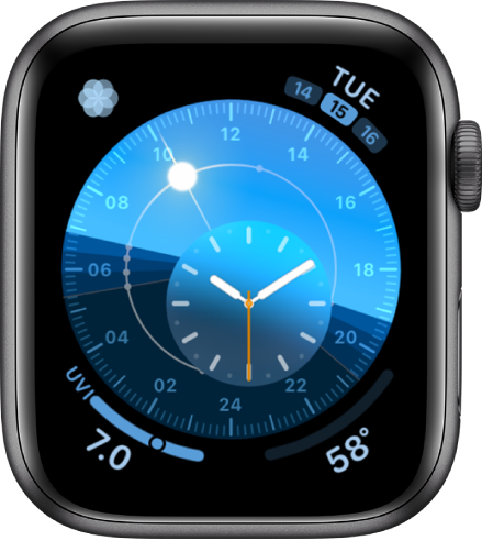 The Solar Dial watch face with a round dial that indicates the position of the sun. An inner dial displays the analog time. There are four complications shown: Breathe at the top left, Date at the top right, UV Index at the bottom left, and Weather Temperature at the bottom right.