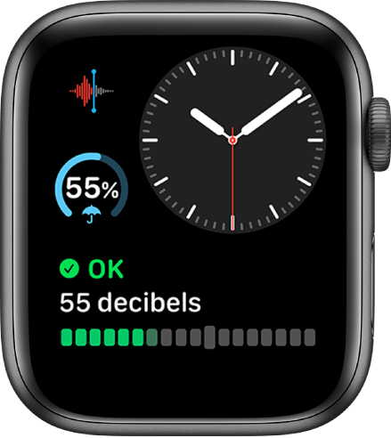 The Modular Compact watch face showing an analog clock near the top right, a Voice Memos complication at the top left, a weather complication at the middle left, and a Noise complication at the bottom.