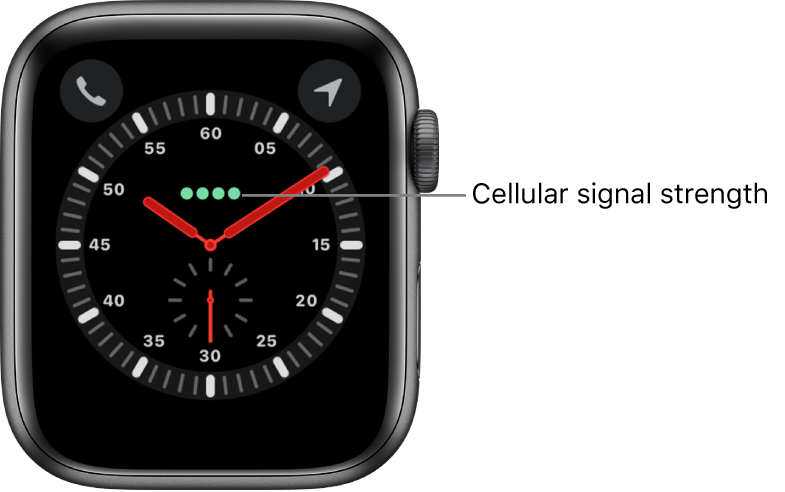 The Explorer watch face is an analog clock. Just above the center of the watch face are the four green dots that indicate cellular signal strength.