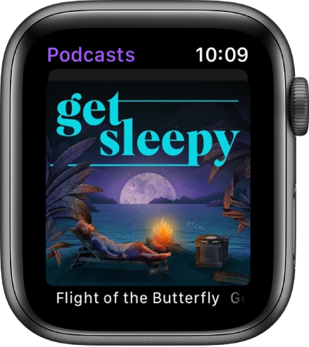 The Podcasts app on Apple Watch shows podcast artwork. Tap the artwork to play the episode.