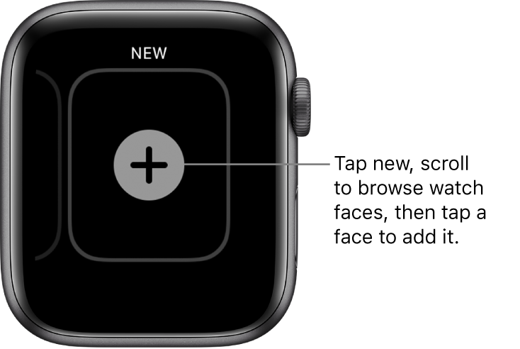 New watch face screen, with a plus button in the middle. Tap to add a new watch face.
