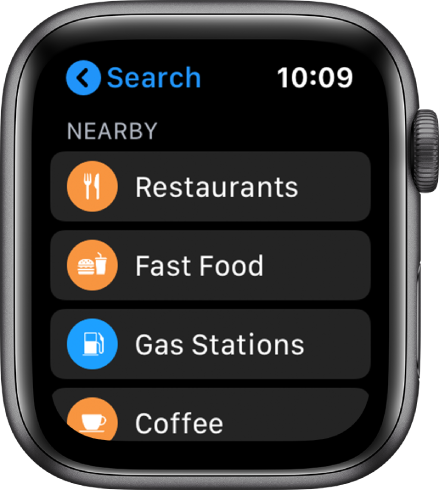 The Maps app showing a list of categories: Restaurants, Fast Food, Gas Stations, Coffee, and more.