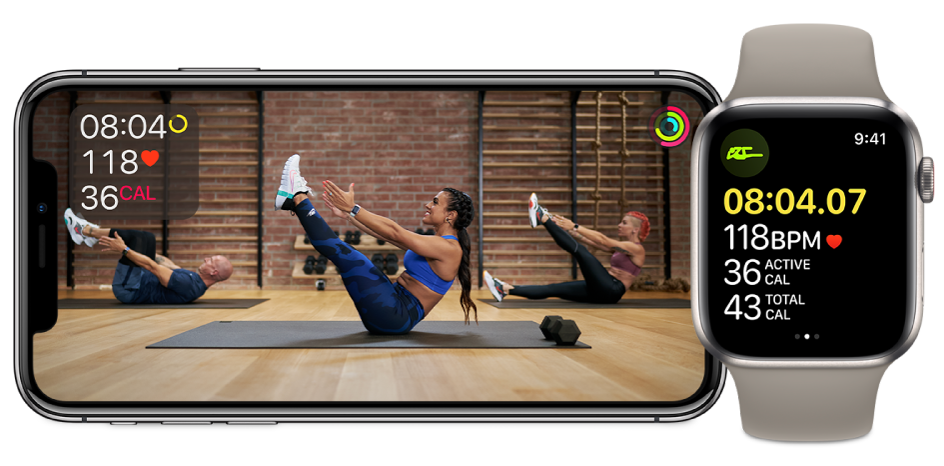 Fitness+ core workout on iPhone and Apple Watch, showing time remaining, heart rate, and calories burned.