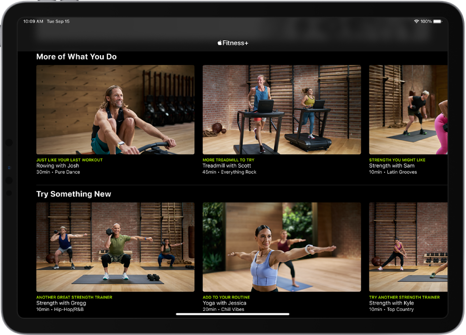 An iPad showing Fitness+ workouts in the categories More of What You Do and Try Something New.