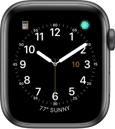 The Utility watch face, where you can adjust the color of the second hand and adjust the numbering and detail of the dial. Three complications appear: Calculator at the top left, Breathe at the top right, and Weather at the bottom.