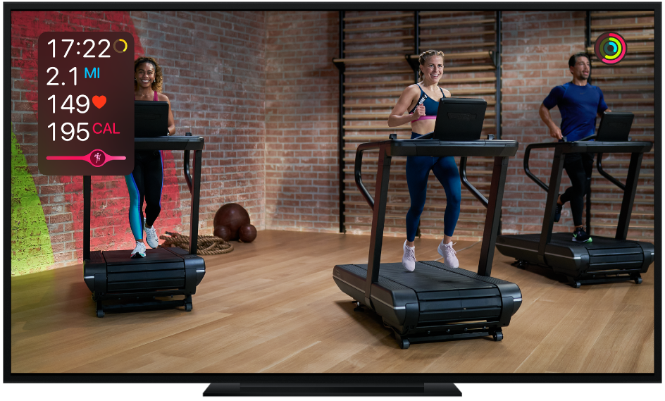 A TV showing an Apple Fitness+ Treadmill workout with metrics on the screen for time remaining, distance, heart rate, and calories burned, as well as the Burn Bar.