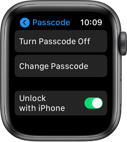 Passcode settings on Apple Watch, with Turn Passcode Off button at top, Change Passcode button below it, and Unlock with iPhone switch at the bottom.