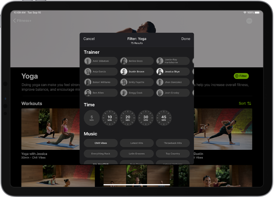 An iPad showing filtering options for yoga workouts in Fitness+.