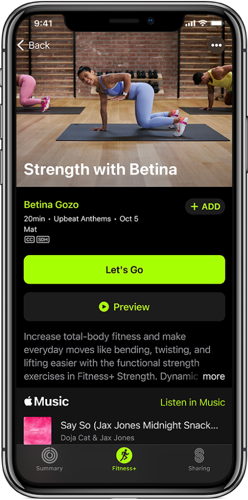 A strength workout screen showing the Let's Go button, Preview button, a description of the workout, and the workout playlist.