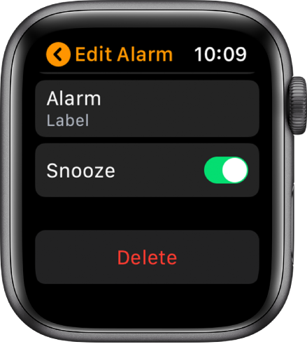 Edit Alarm screen, with the Delete button at the bottom.