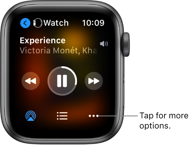 The Now Playing screen showing Watch at the top left, with an arrow pointing left, which takes you to the device screen. A song title and artist name appears below. Play controls are in the middle. AirPlay, track list, and More Options buttons are at the bottom.