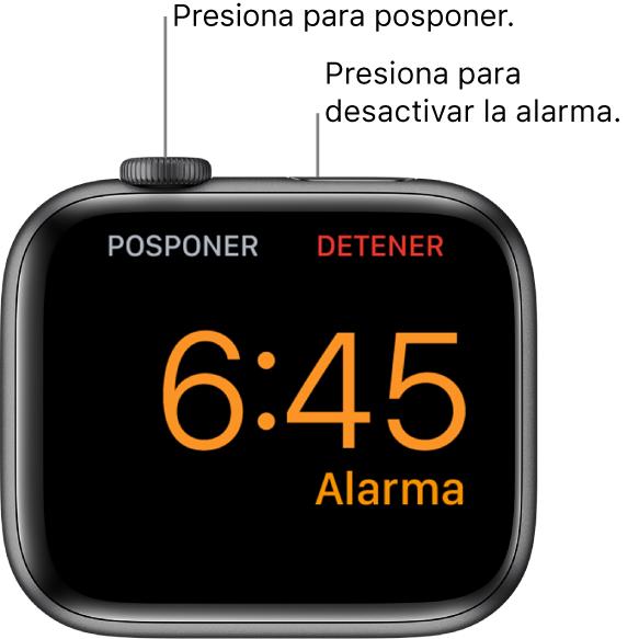 """Un AppleWatch colocado de lado, la pantalla muestra una alarma activa. Debajo de la DigitalCrown está la opción Posponer. La palabra """"Detener"""" está debajo del botón lateral."""