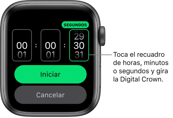 Configuración para crear un temporizador personalizado, con las horas en la izquierda, los minutos en el centro y los segundos en la derecha. Los botones Iniciar y Cancelar se encuentran debajo.