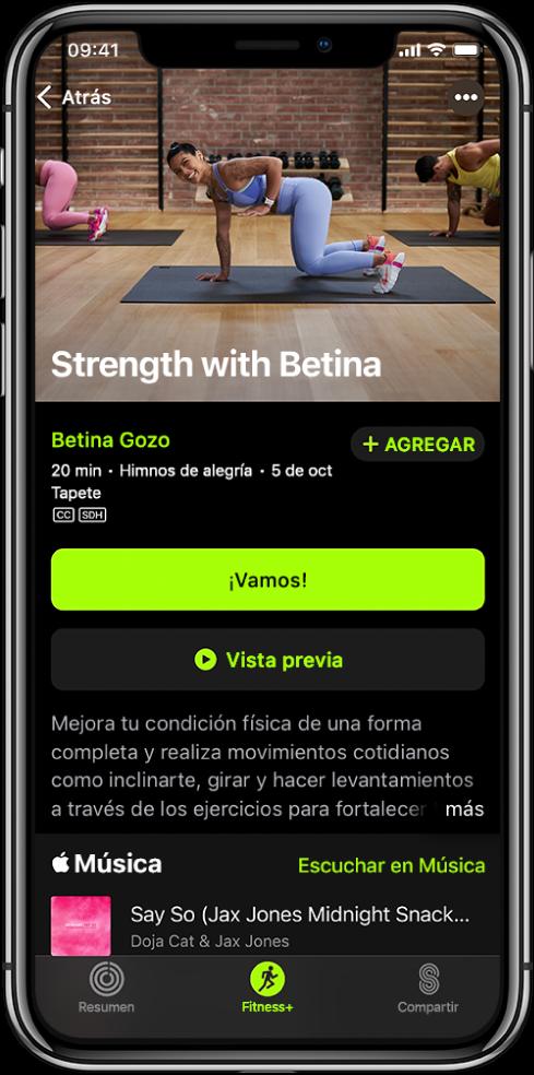 La pantalla de un entrenamiento de fuerza mostrando el botón ¡Vamos!, el botón Previsualizar, una descripción y la playlists del entrenamiento.