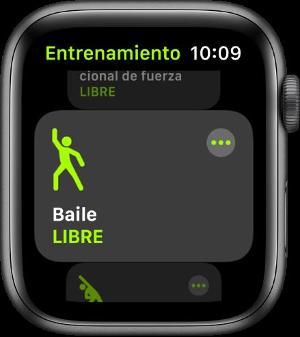 La pantalla Entrenamiento con la opción Baile resaltada.
