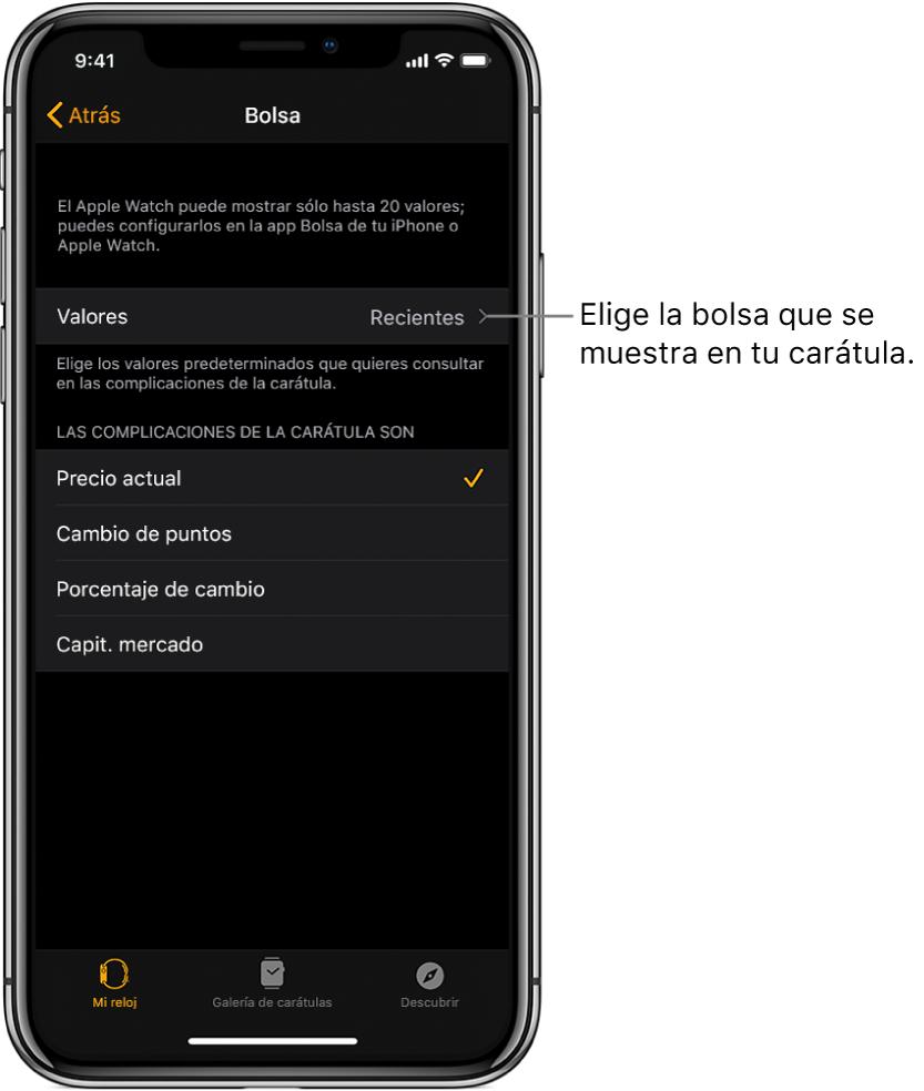 La pantalla de configuración de Bolsa en la app AppleWatch en el iPhone mostrando opciones para escoger tus valores, los cuales están establecidos para los últimos vistos.