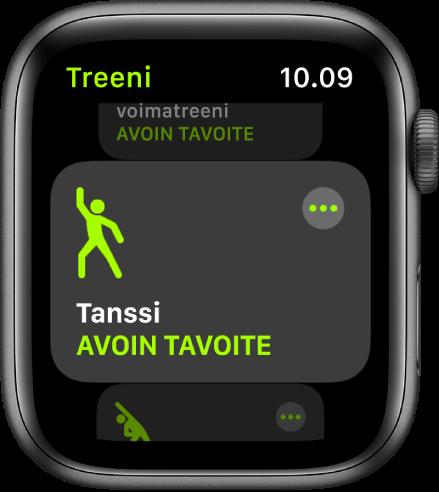 Treeni-näyttö, jossa on korostettuna Tanssi-treeni.