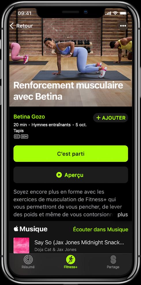 Écran d'un entraînement de musculation qui affiche le bouton C'est parti, le bouton Aperçu, ainsi qu'une description et la liste de lecture de l'entraînement.