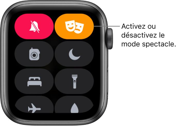 Le Centre de contrôle avec les boutons du mode Spectacle et du mode Silence en surbrillance pour indiquer que le mode Spectacle est activé.