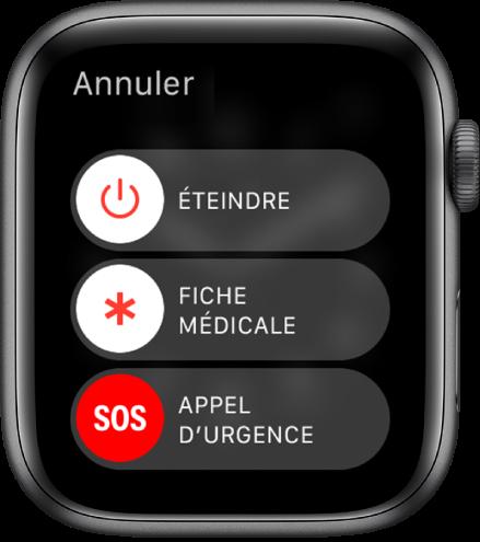 L'écran de l'AppleWatch affiche trois curseurs: Éteindre, Fiche médicale et Appel d'urgence. Faites glisser le curseur Éteindre pour éteindre l'AppleWatch.